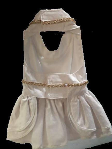 Vestido Branco com Strass Dourado Ano Novo