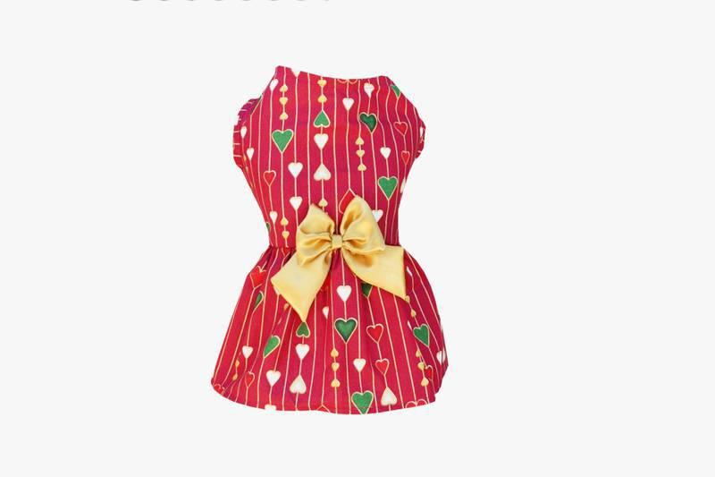Vestido para Cachorro Coração Vinho - Natal