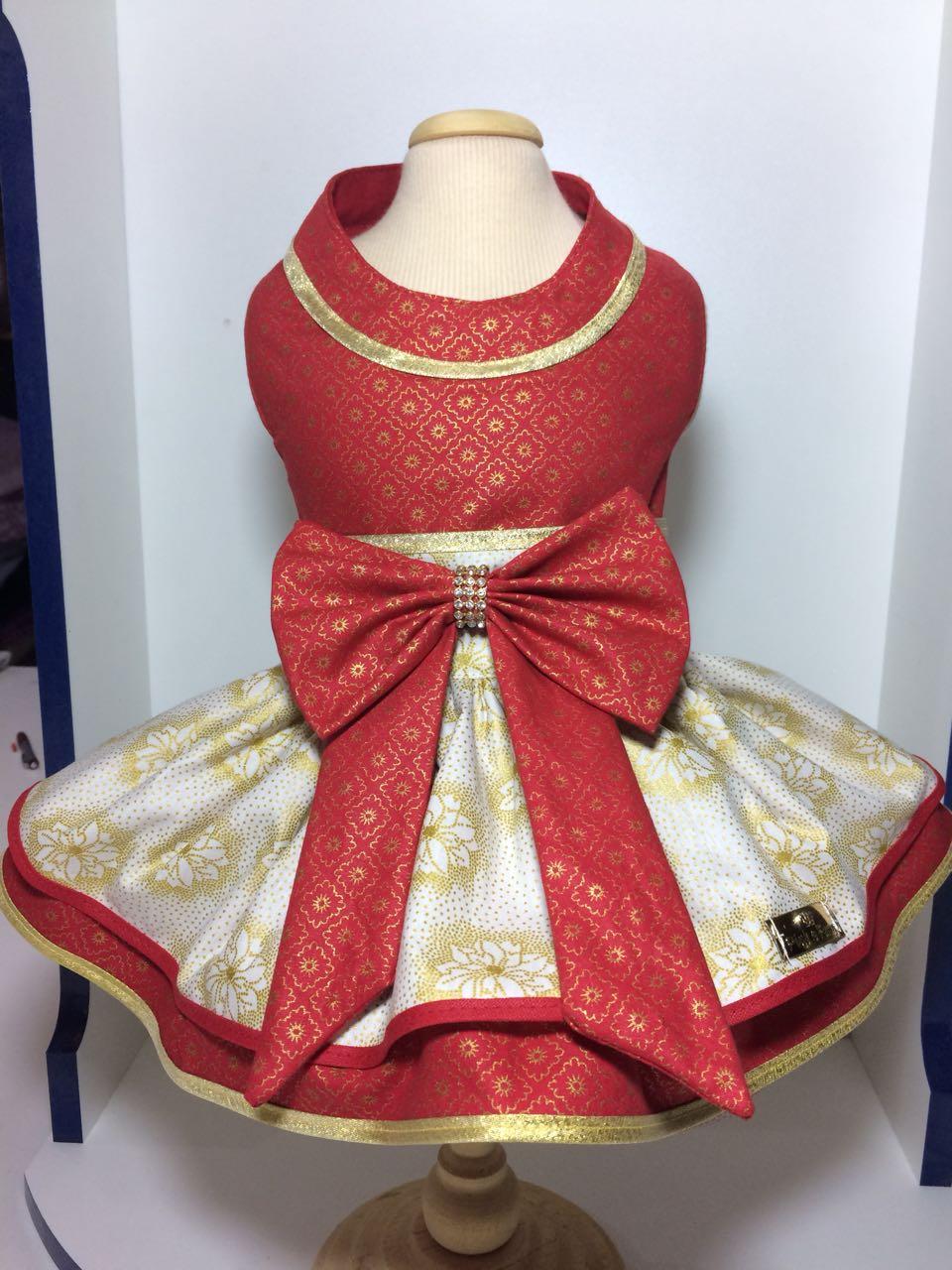 Vestido para Cachorro Natal Dourado