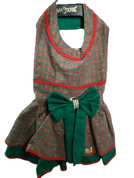 Vestido para Cachorro Xadrez Laço Verde - Natal