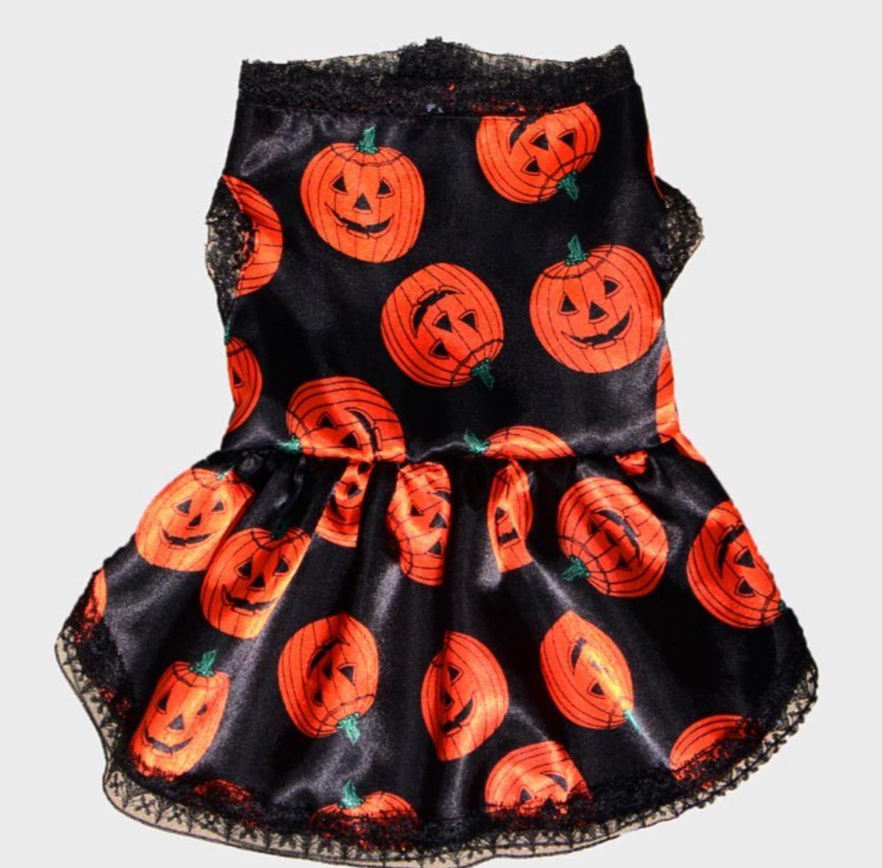 Fantasia para Cachorro Vestido Abóbora Halloween