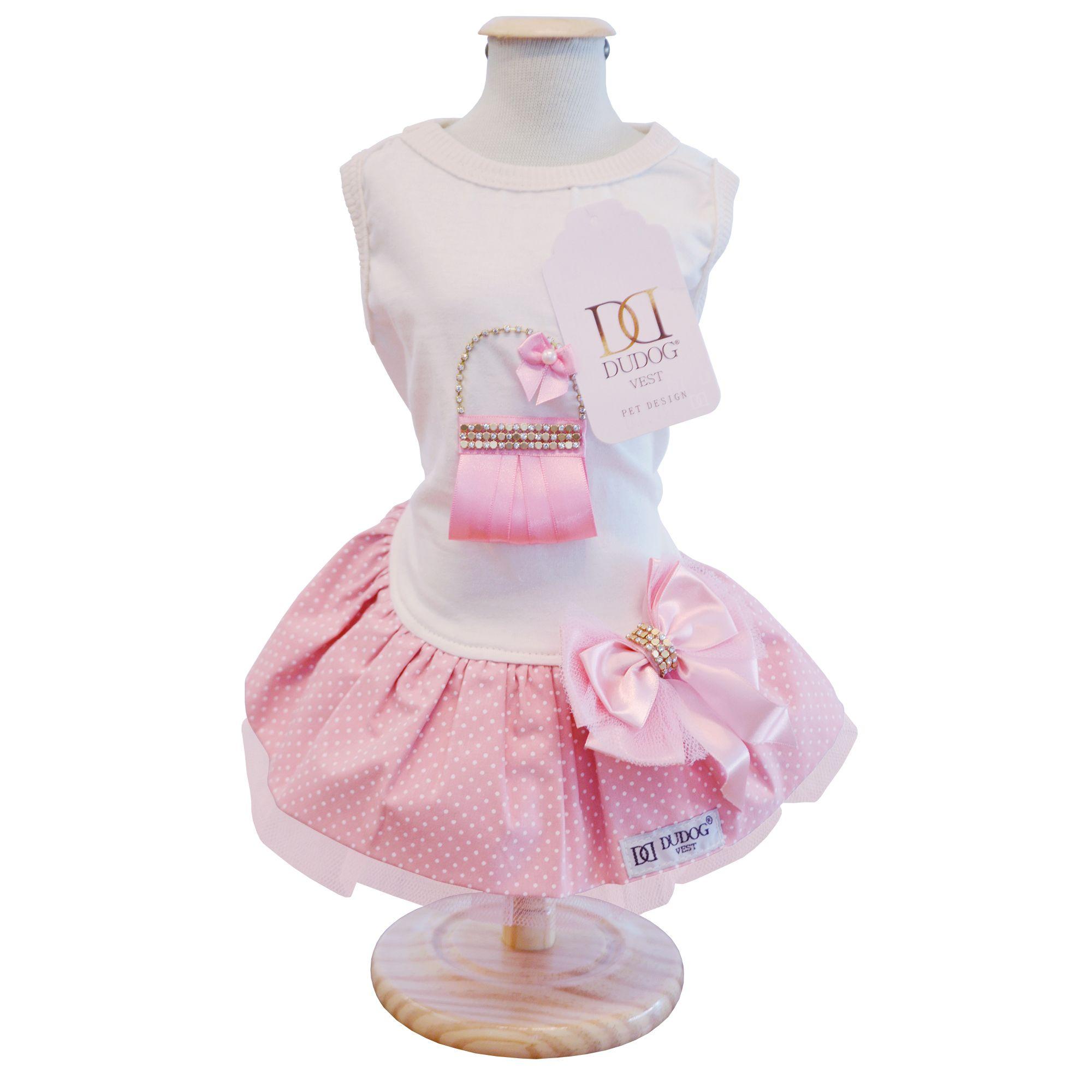 Vestido Bolsa Poá Rosa