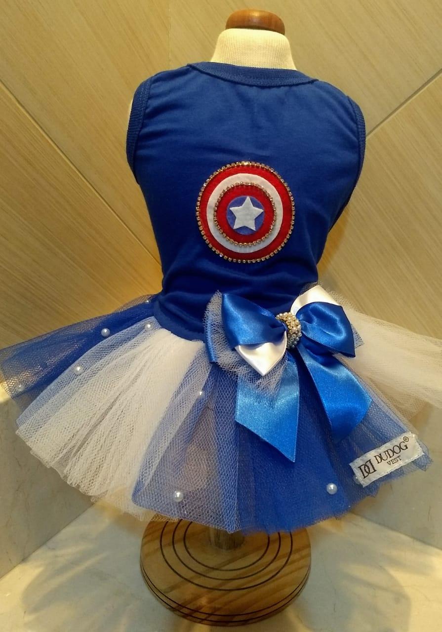 Fantasia para Cachorro Vestido Capitão América