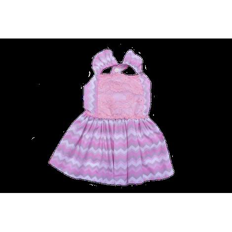 Vestido Chevron Rosa com Renda