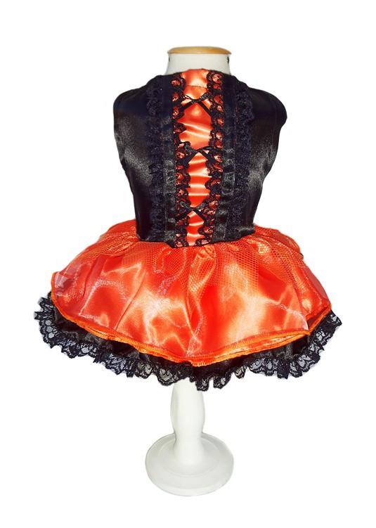 Fantasia para Cachorro Vestido de Halloween Bruxinha Laranja