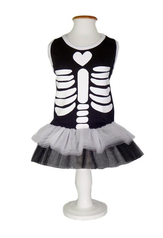 Fantasia para Cachorro Vestido Esqueleto Fêmea