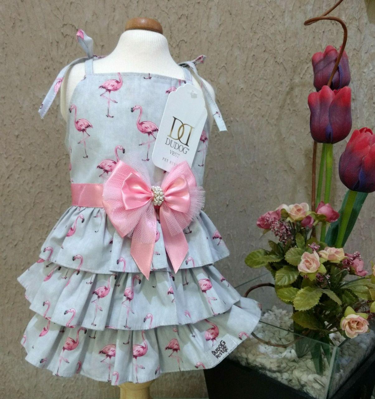 Vestido Flamingos Cinza