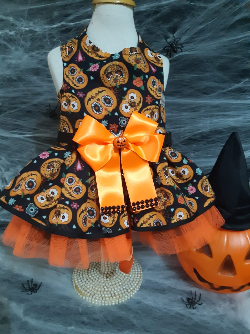 Coleira Vestido Guia para Cachorro Halloween