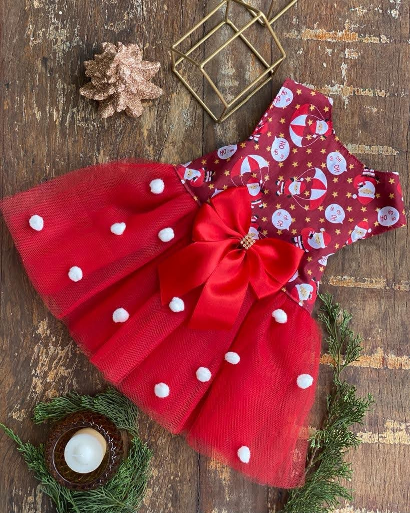 Vestido Natal Tule Pompom