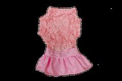 Vestido Renda com Saia de Couro Vinil - Diversas Cores
