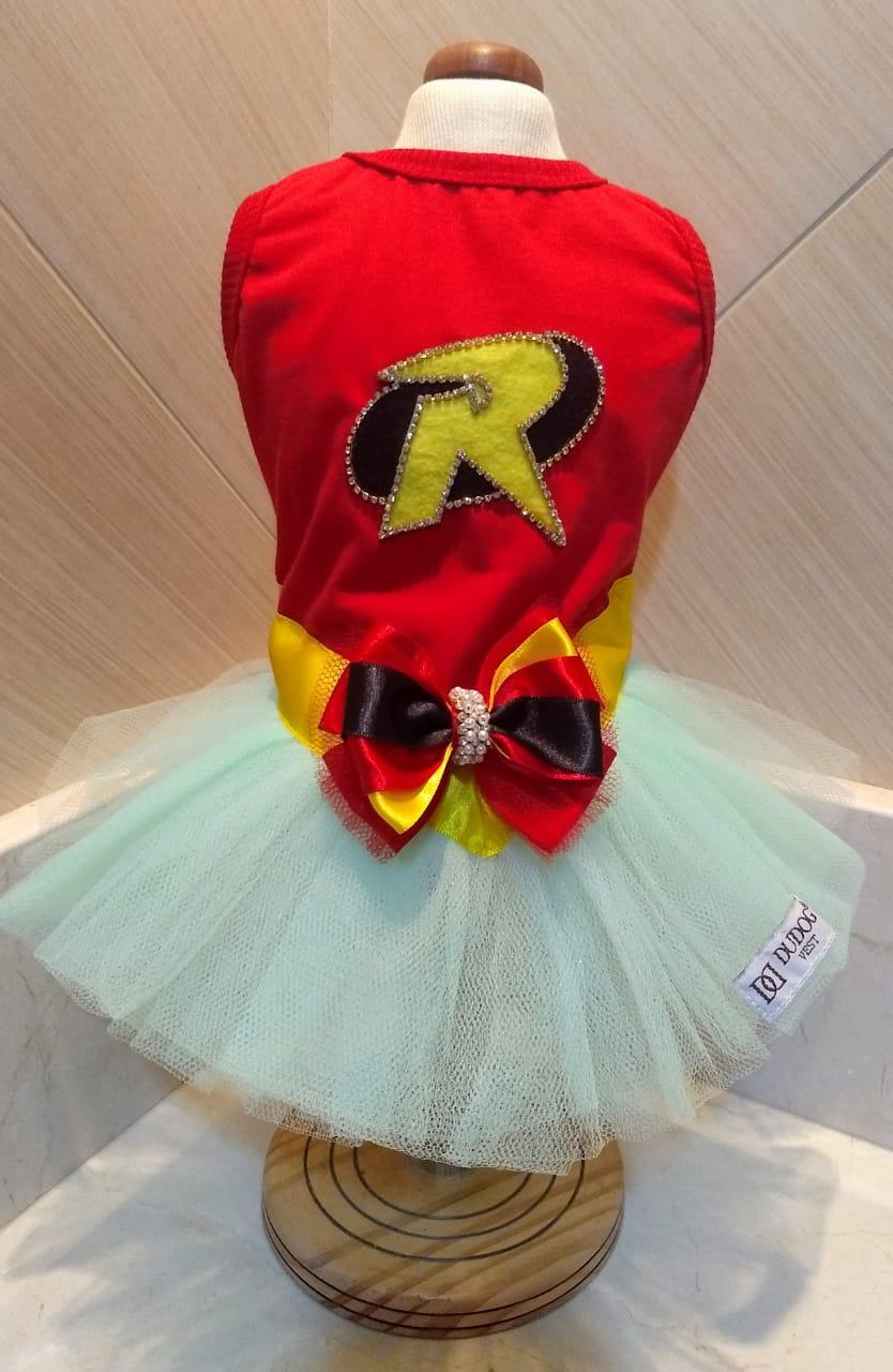 Fantasia para Cachorro Vestido Robin