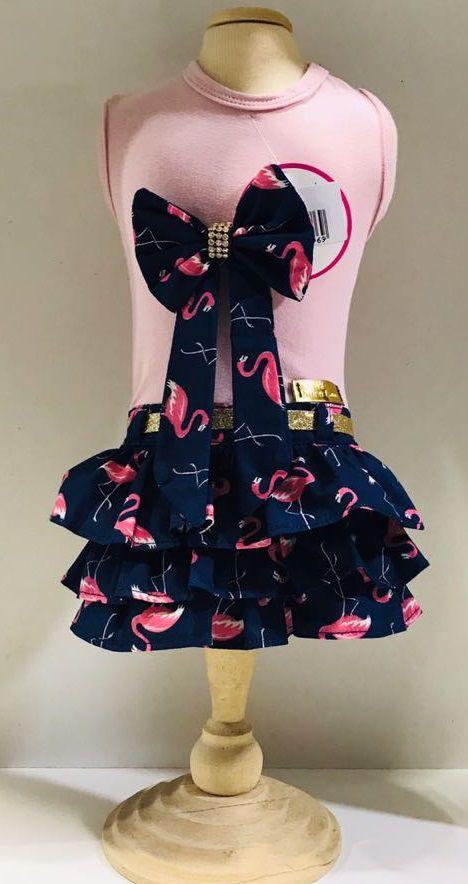 Vestido Rosa com Saia de Flamingos