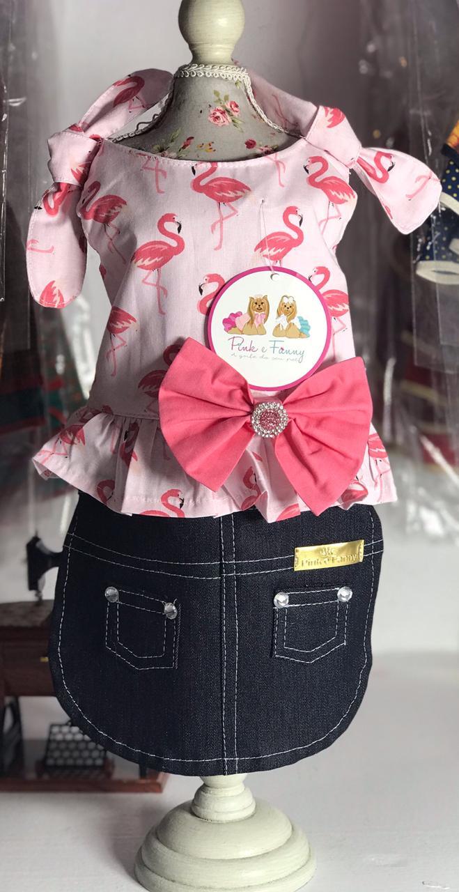Vestido Saia Jeans Flamingos