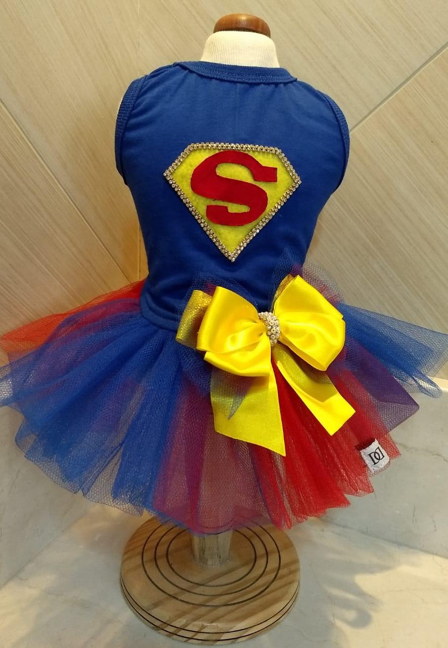 Fantasia para Cachorro Vestido Supergirl Azul