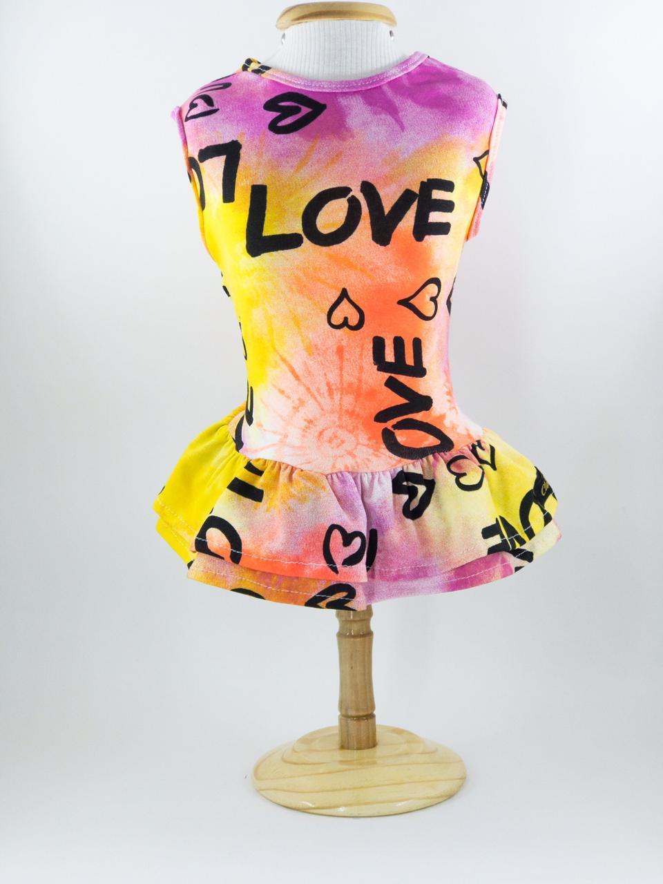 Vestido para Cachorro Tie Dye Love