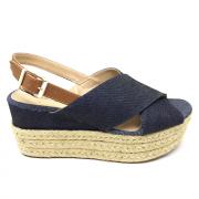 Sandália Flatform Jeans Salto Corda