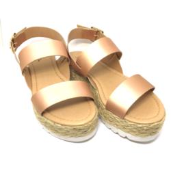 Sandália Flatform Solado Corda Metalizada Rosé