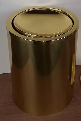 Lixeira p/ banheiro Tampa Giratória  Latão Dourada 19x25alt