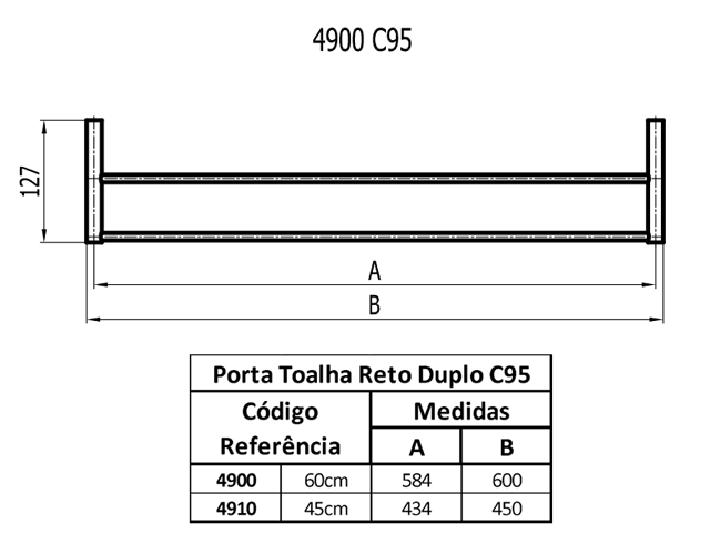 PORTA TOALHA DUPLO MEDIO SLIM C-95 4910