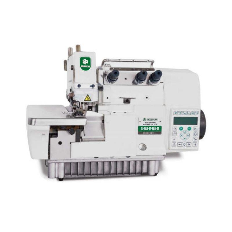 Overloque Eletrônica com Control box Acoplado e sistema de sucção.