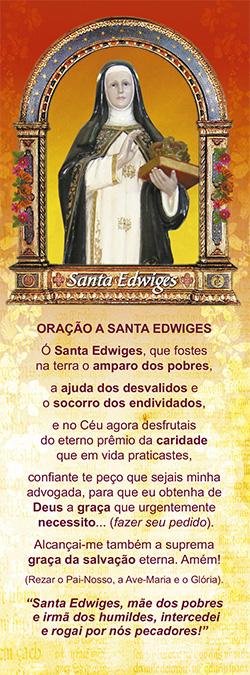 Santa Edwiges, santinho, marcador de páginas, pacote com 100 unidades