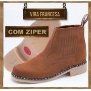 Botina Vira Francesa Oliveira com Ziper Lateral