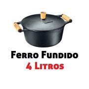 Caçarola / Panela De Ferro Fundido C/ Alça Madeira 4 Litros 250 Fumil
