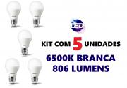 Kit 5 Lâmpadas LED Residencial 7,5W 6500k Branca Philips Original Bivolt