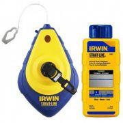 Kit de Marcação / Carretel de Linha 30m  p/Pedreiro Gesseiro com Giz Azul para Drywall Irwin