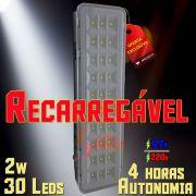 Luminária / Lâmpada / Luz de Emergência 30 Leds 2W OL Recarregável