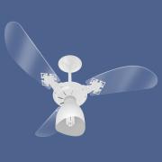 Ventilador De Teto New Cristal Light Com lustre e 3 Velocidades Branco