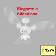 Ventilador De Teto New Cristal Light Com lustre e 3 Velocidades Branco Venti-Delta