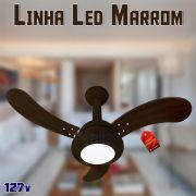 Ventilador de Teto One Led Luxo Marrom 3 Pás Tabaco 127v Venti Delta