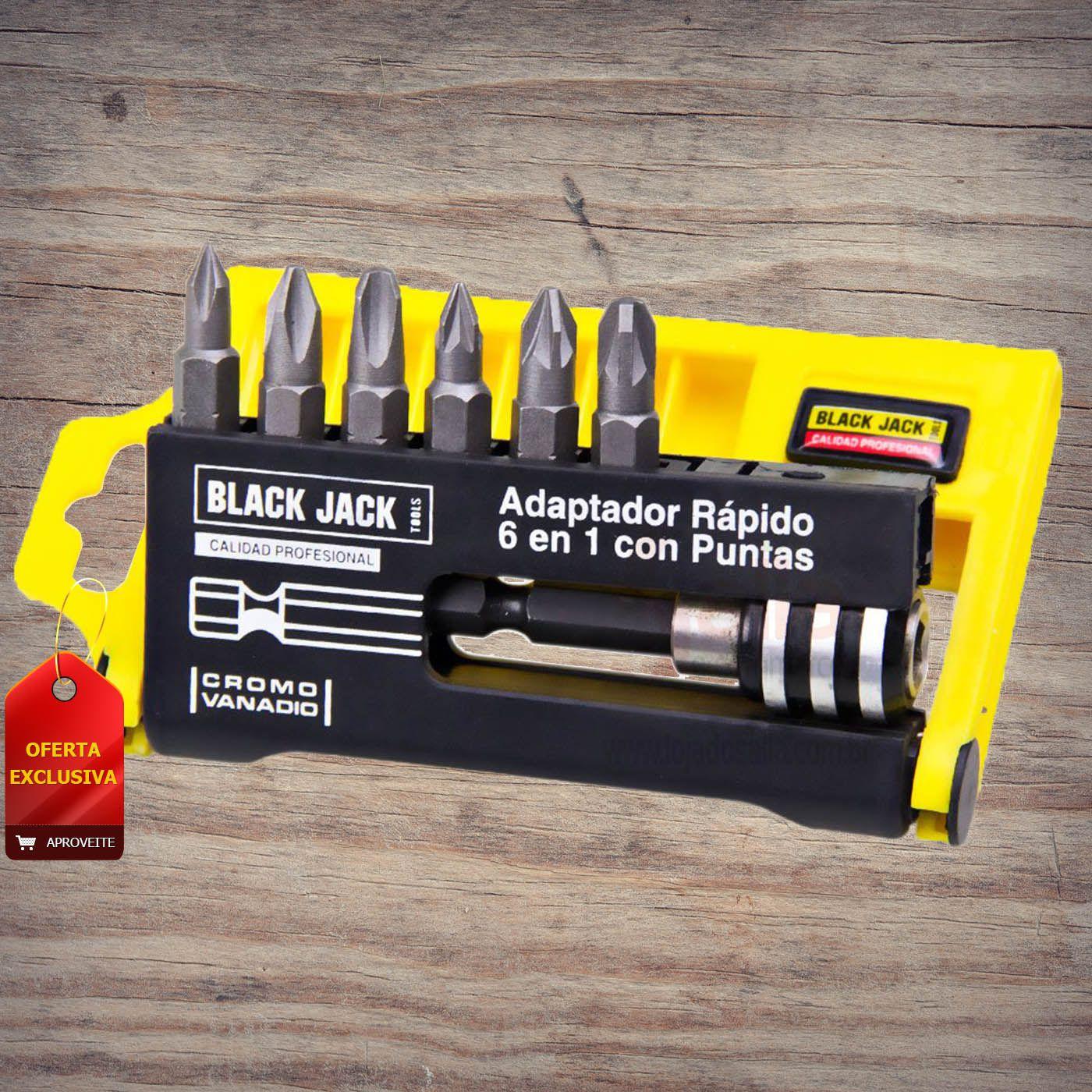 Adaptador Engate Rápido 6 Peças Phillips e Bits B471 Black Jack