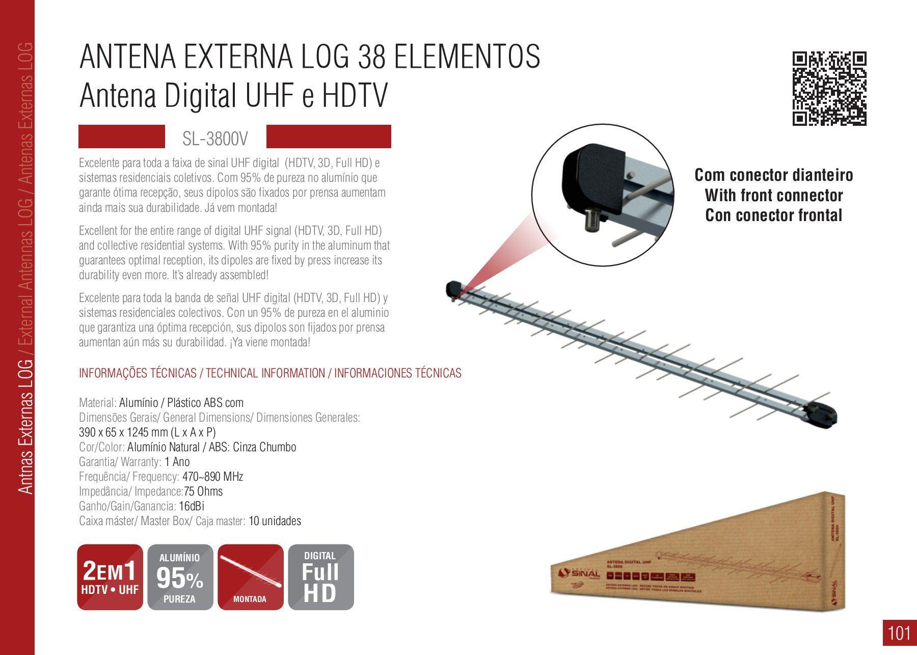 Antena Externa Log 38 elementos Sinal UHF, Digital e HDTV  SL-3800 PLUS