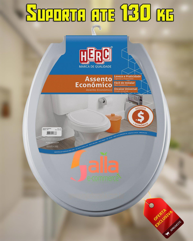 Tampa de Vaso / Assento Sanitário Cinza Prático Econômico 3177 Herc
