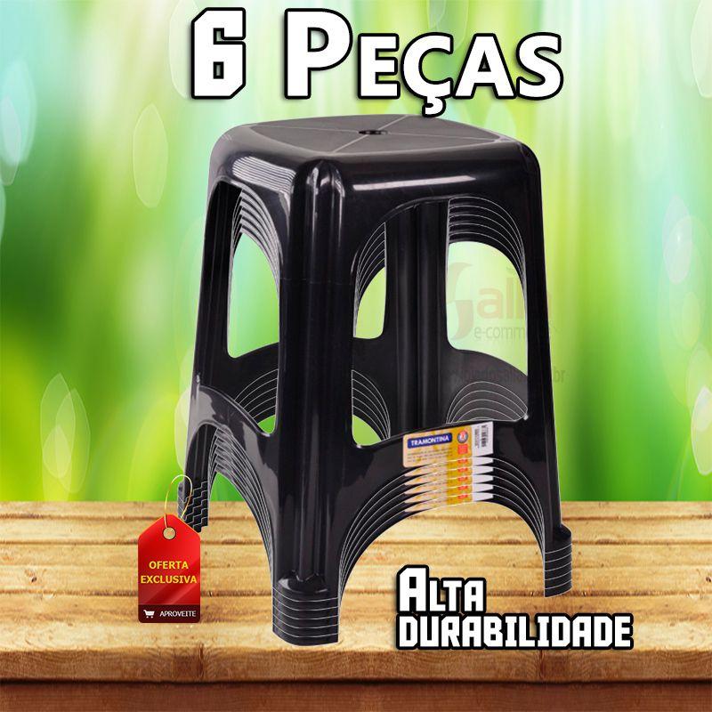 Kit com 6 Banqueta Plástica / Banco / Banquinho Niterói Tramontina em Termoplástico Pvc Preta