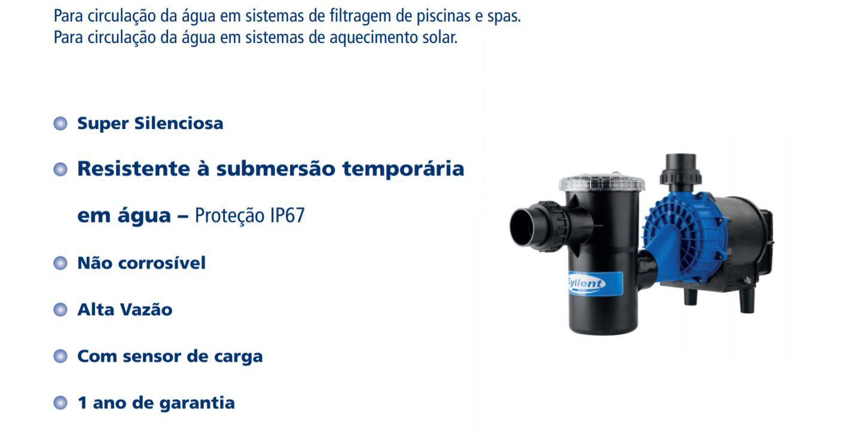 Bomba Água Centrífuga p/Piscina 1/2 CV 220v PF42E0313AS Syllent Aqquant com Pré-Filtro