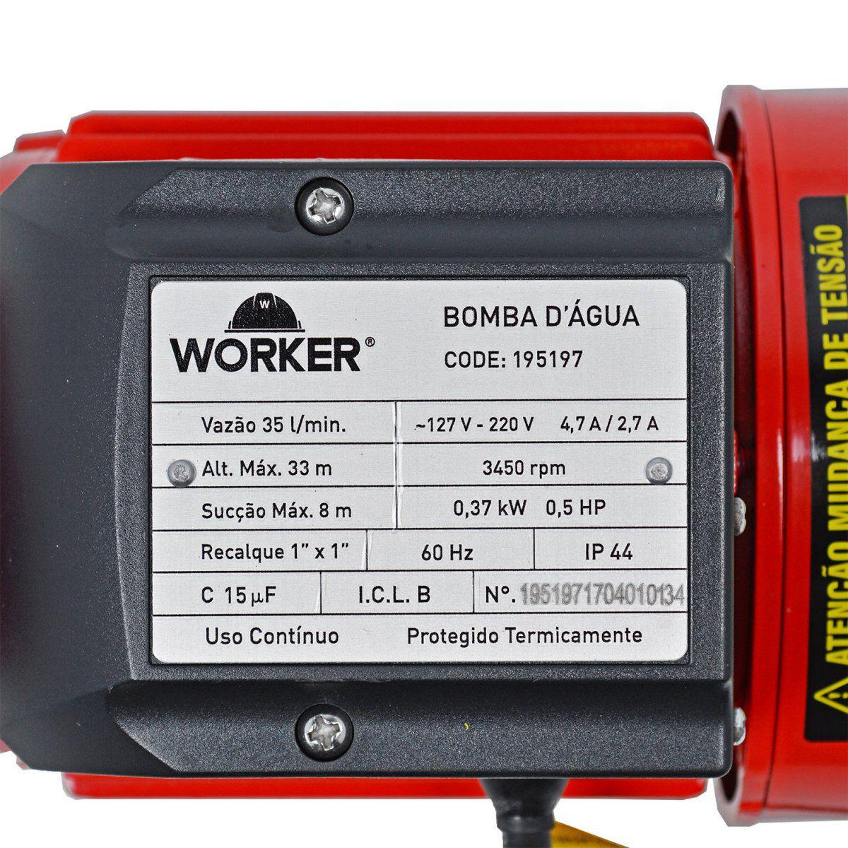 Bomba D'Água Periférica 1/2 cv Bivolt Worker