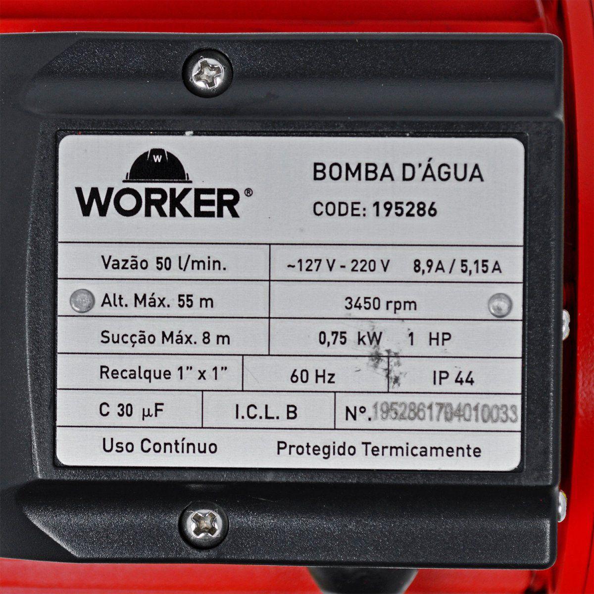 Bomba D'Água Periférica 1hp Bivolt Worker