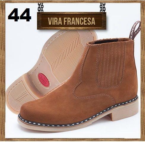 Botina Vira Francesa Oliveira com Ziper Lateral Sapato Nº 44
