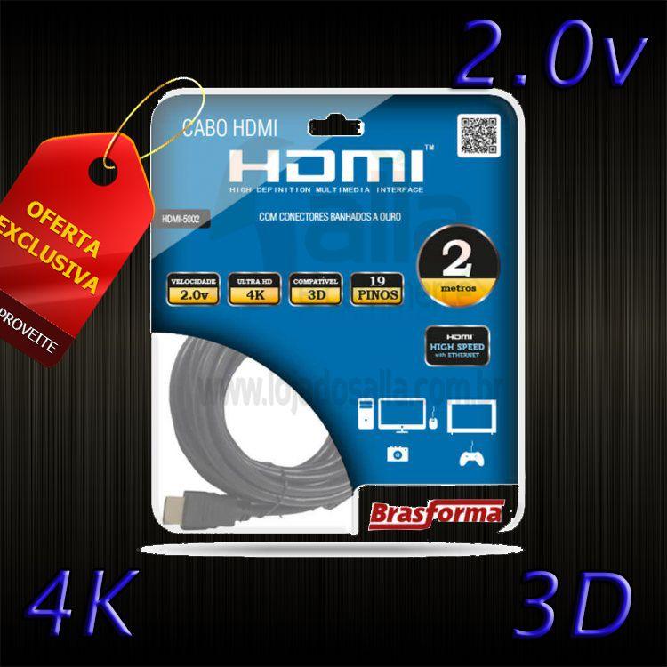 Cabo HDMI 2.0 4k 1080p com 2 Metros Brasforma Ultra Hd 3D Ready
