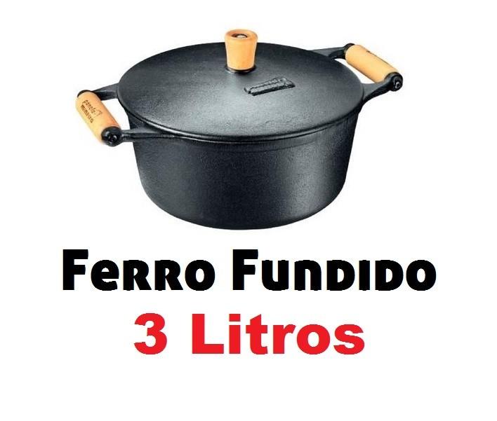 Caçarola / Panela De Ferro C/ Alça Madeira 3 Litros Fumil