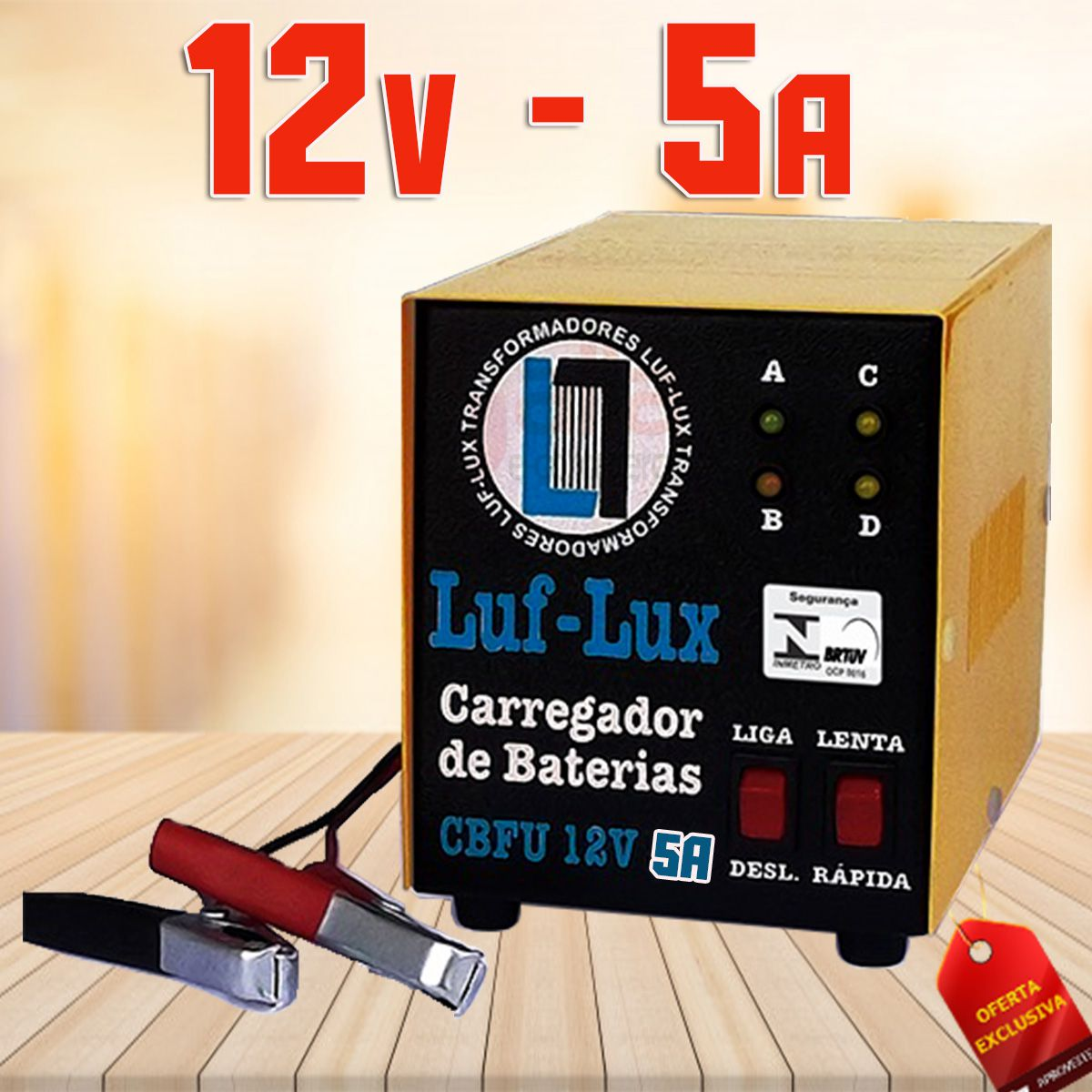 Carregador de Bateria Automotiva CBFU 12v 5A Luf-Lux