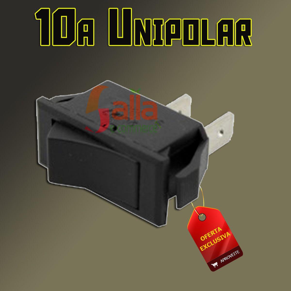 Chave Botão Interruptor Unipolar 10A 250 Vca Tecla Preta Liga / Desliga Margirius 20123 M1FT2FE3Q-CB