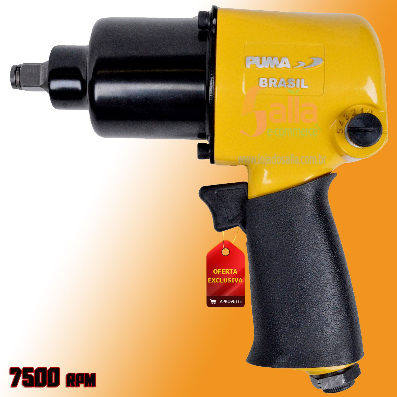 Chave Impacto Parafusadeira Pneumática 1/2 Torque 66 KGF 7500 RPM AT2810/16 Puma