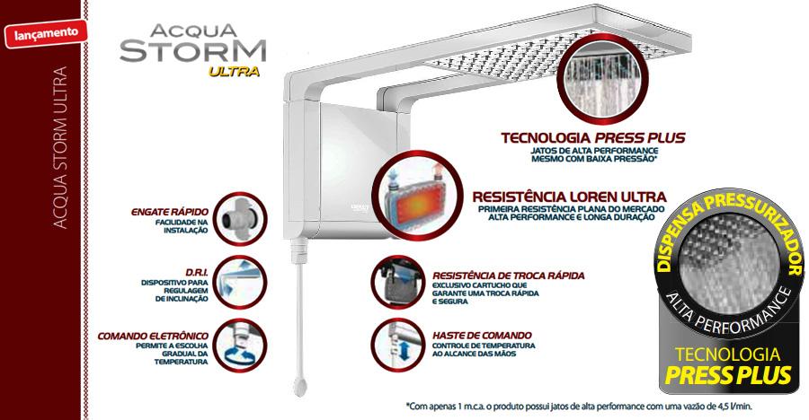 Ducha Chuveiro Acqua Storm Ultra Branco Cromado Lorenzetti 220v 6800w