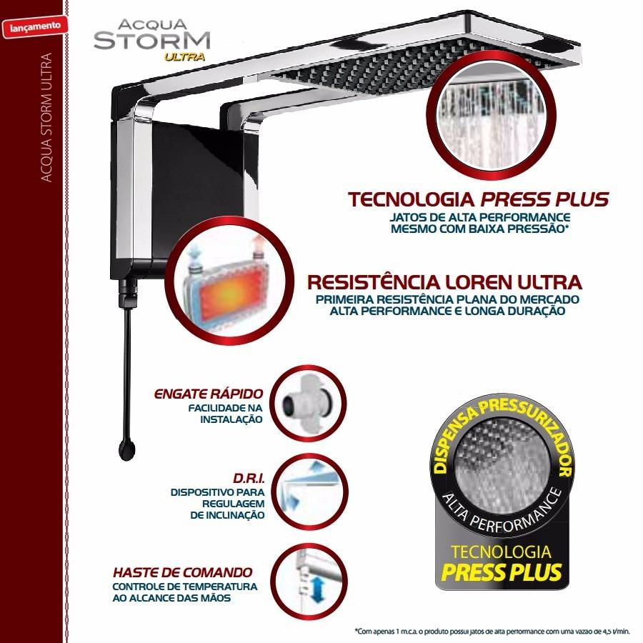 Ducha Chuveiro Acqua Storm Ultra Preto Lorenzetti 220v 6800w
