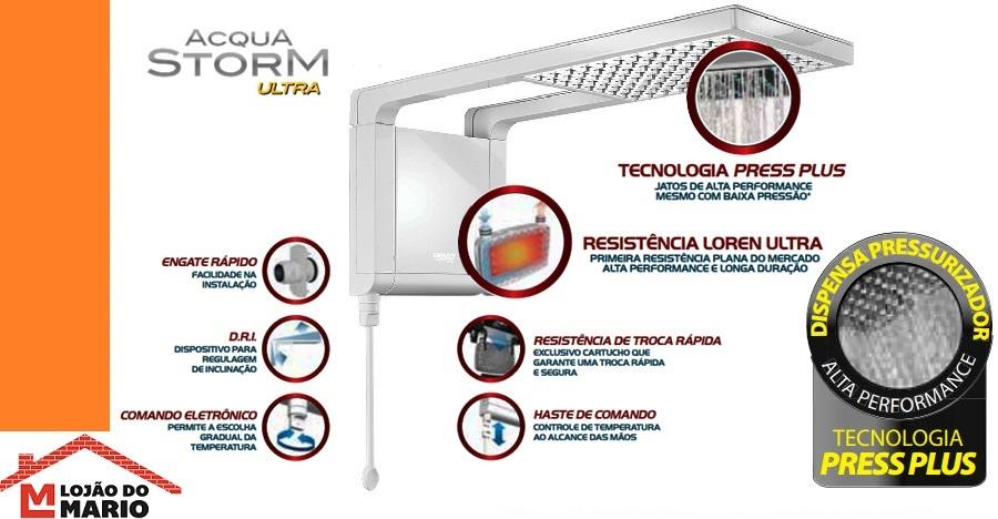 Ducha Chuveiro Acqua Storm Ultra Branco Eletrônico Lorenzetti 220v 6800w