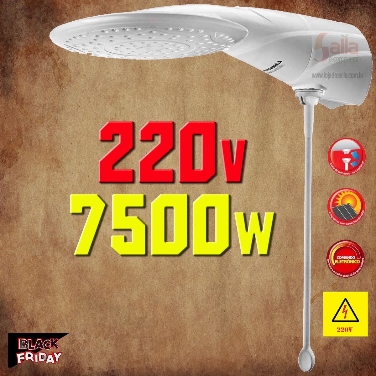 Chuveiro Advanced Ducha Temperatura Eletrônica Lorenzetti 7500w 220v com Haste Prolongadora